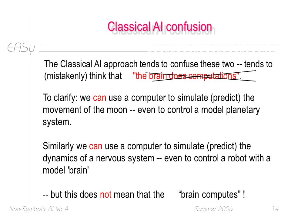 EASy Summer 2006Non-Symbolic AI lec 414 Classical AI confusion The Classical AI approach tends to confuse these two -- tends to (mistakenly) think that the brain does computations .