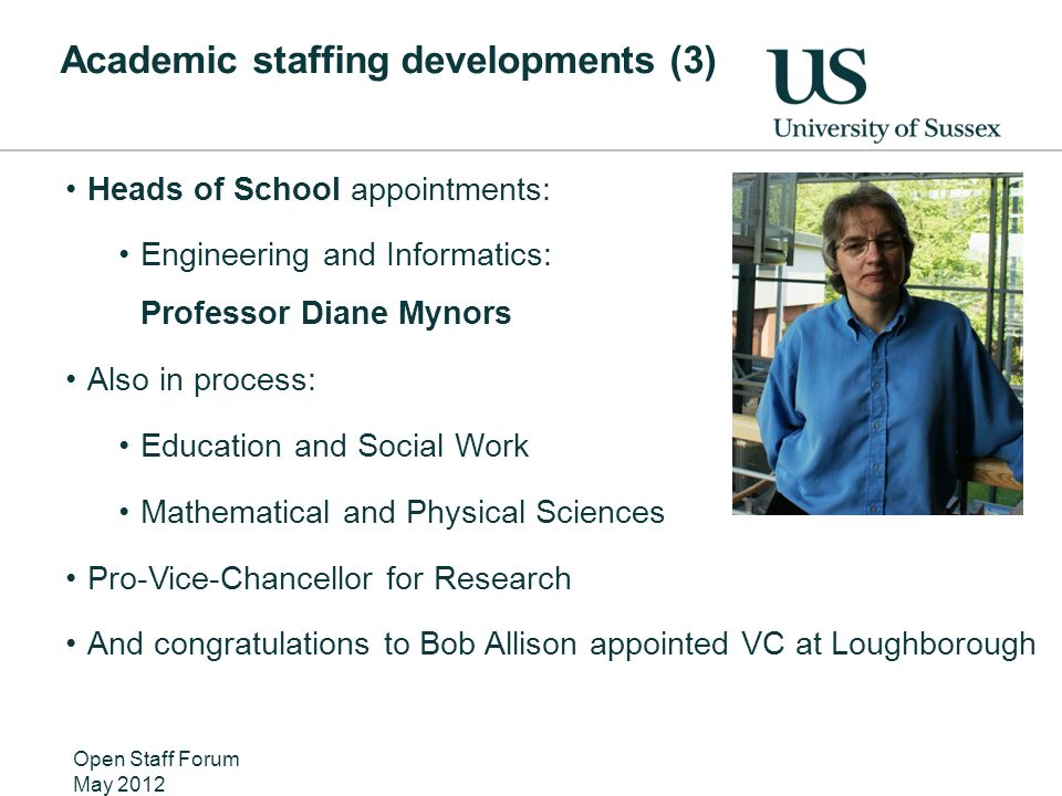 Academic staffing developments (3) Heads of School appointments: Engineering and Informatics: Professor Diane Mynors Also in process: Education and Social Work Mathematical and Physical Sciences Pro-Vice-Chancellor for Research And congratulations to Bob Allison appointed VC at Loughborough Open Staff Forum May 2012