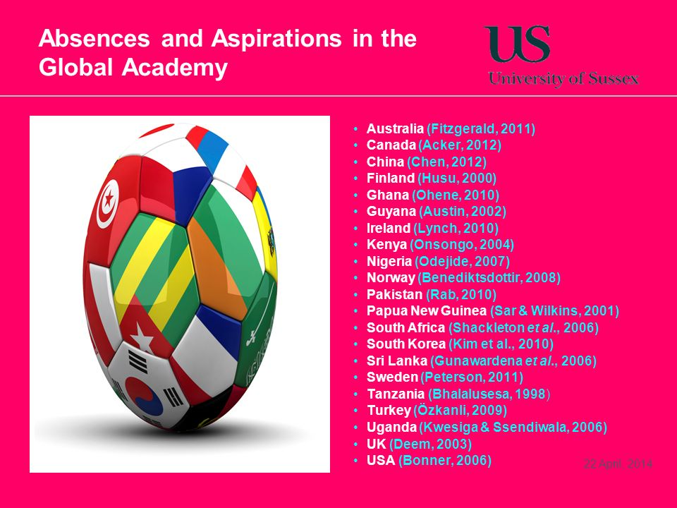 22 April, 2014 Absences and Aspirations in the Global Academy Australia (Fitzgerald, 2011) Canada (Acker, 2012) China (Chen, 2012) Finland (Husu, 2000) Ghana (Ohene, 2010) Guyana (Austin, 2002) Ireland (Lynch, 2010) Kenya (Onsongo, 2004) Nigeria (Odejide, 2007) Norway (Benediktsdottir, 2008) Pakistan (Rab, 2010) Papua New Guinea (Sar & Wilkins, 2001) South Africa (Shackleton et al., 2006) South Korea (Kim et al., 2010) Sri Lanka (Gunawardena et al., 2006) Sweden (Peterson, 2011) Tanzania (Bhalalusesa, 1998) Turkey (Özkanli, 2009) Uganda (Kwesiga & Ssendiwala, 2006) UK (Deem, 2003) USA (Bonner, 2006)