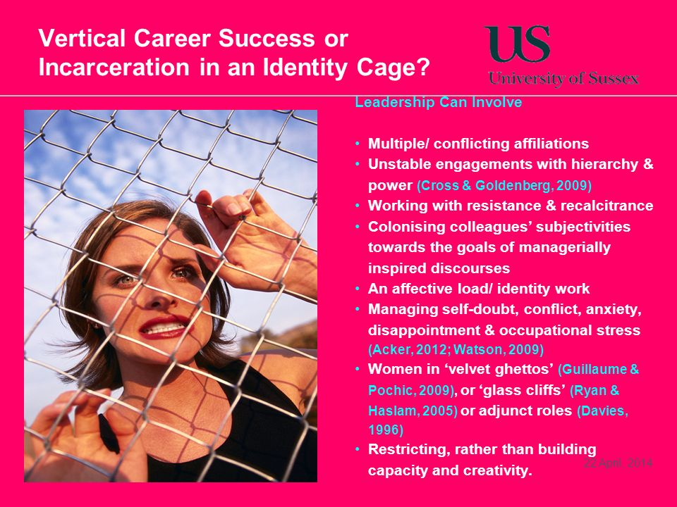 22 April, 2014 Vertical Career Success or Incarceration in an Identity Cage.