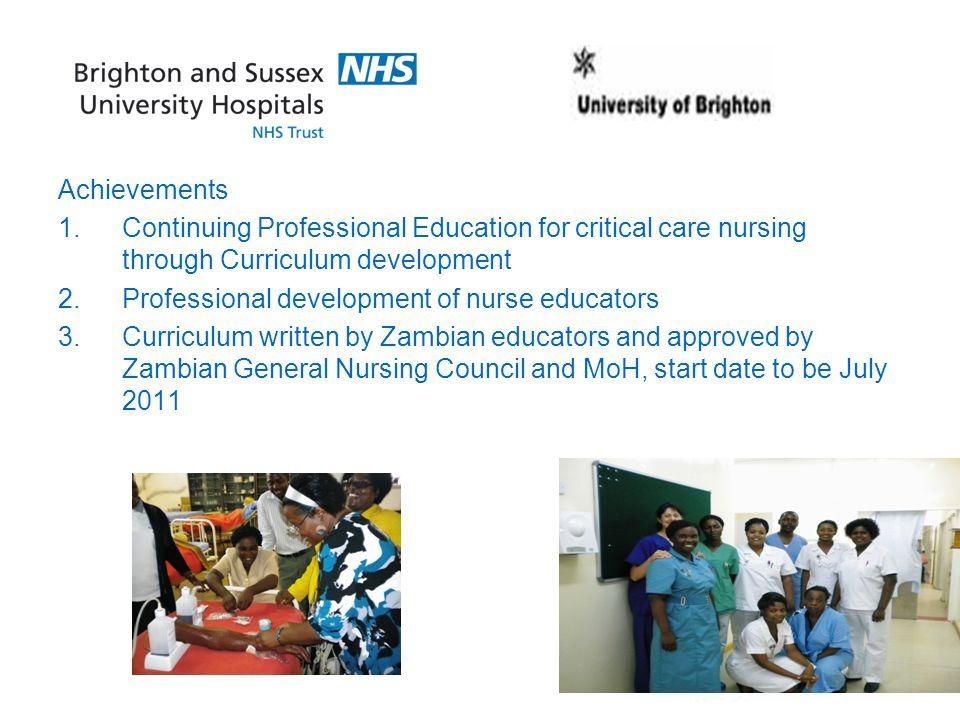 Achievements 1.Continuing Professional Education for critical care nursing through Curriculum development 2.Professional development of nurse educator