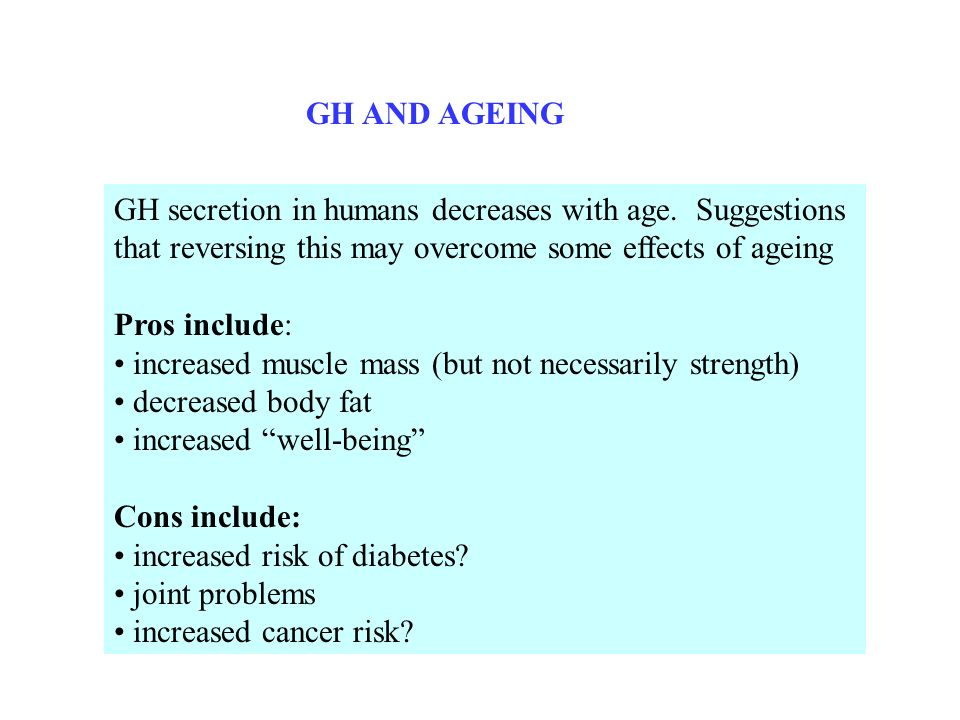 GH AND AGEING GH secretion in humans decreases with age. Suggestions that reversing this may overcome some effects of ageing Pros include: increased m