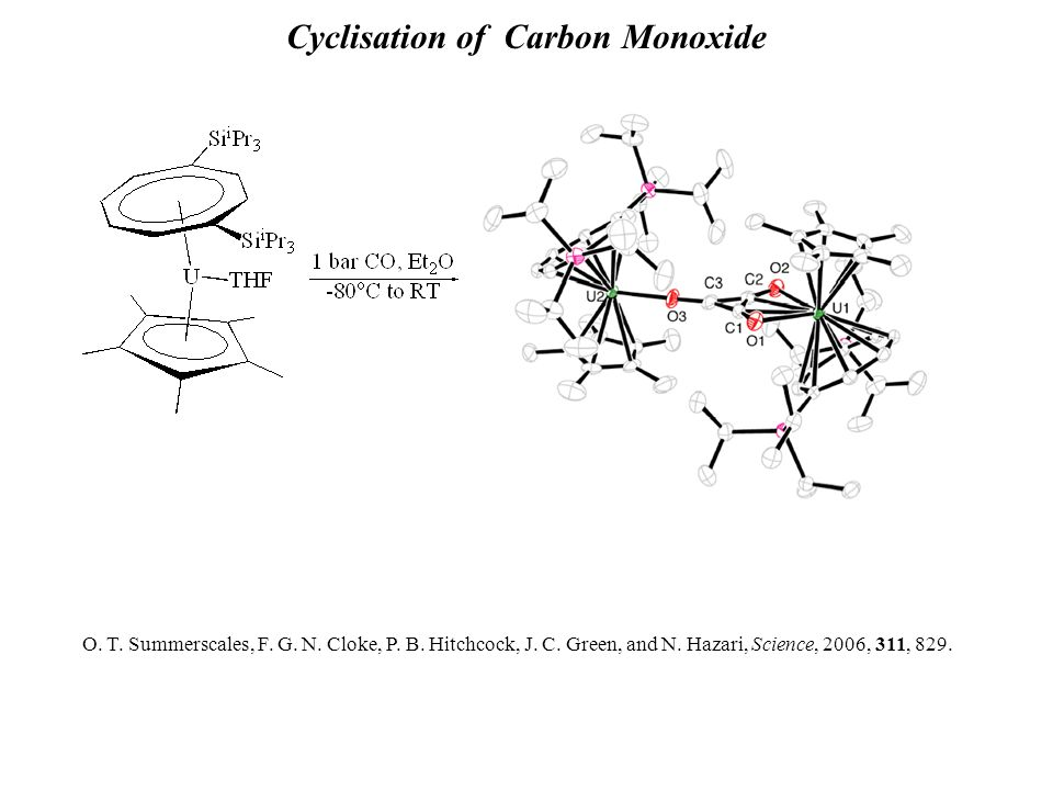 Cyclisation of Carbon Monoxide O. T. Summerscales, F. G. N. Cloke, P. B. Hitchcock, J. C. Green, and N. Hazari, Science, 2006, 311, 829.