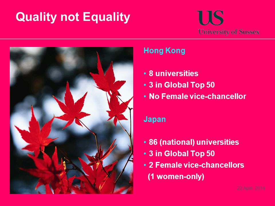 22 April, 2014 Quality not Equality Hong Kong 8 universities 3 in Global Top 50 No Female vice-chancellor Japan 86 (national) universities 3 in Global