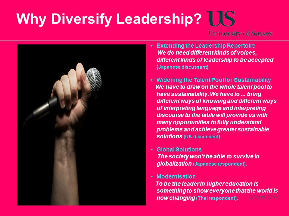 22 April, 2014 Why Diversify Leadership? Extending the Leadership Repertoire We do need different kinds of voices, different kinds of leadership to be