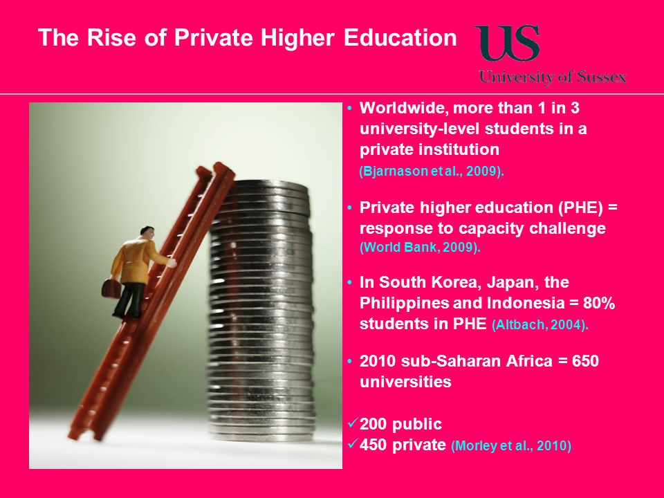 The Rise of Private Higher Education Worldwide, more than 1 in 3 university-level students in a private institution (Bjarnason et al., 2009).