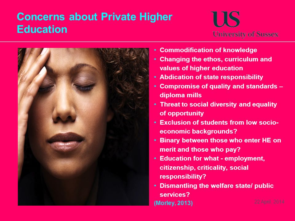 Concerns about Private Higher Education Commodification of knowledge Changing the ethos, curriculum and values of higher education Abdication of state responsibility Compromise of quality and standards – diploma mills Threat to social diversity and equality of opportunity Exclusion of students from low socio- economic backgrounds.