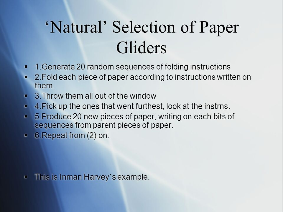 Natural Selection of Paper Gliders 1.Generate 20 random sequences of folding instructions 2.Fold each piece of paper according to instructions written on them.