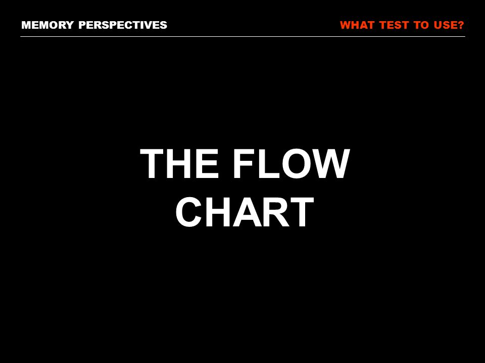 MEMORY PERSPECTIVESWHAT TEST TO USE THE FLOW CHART