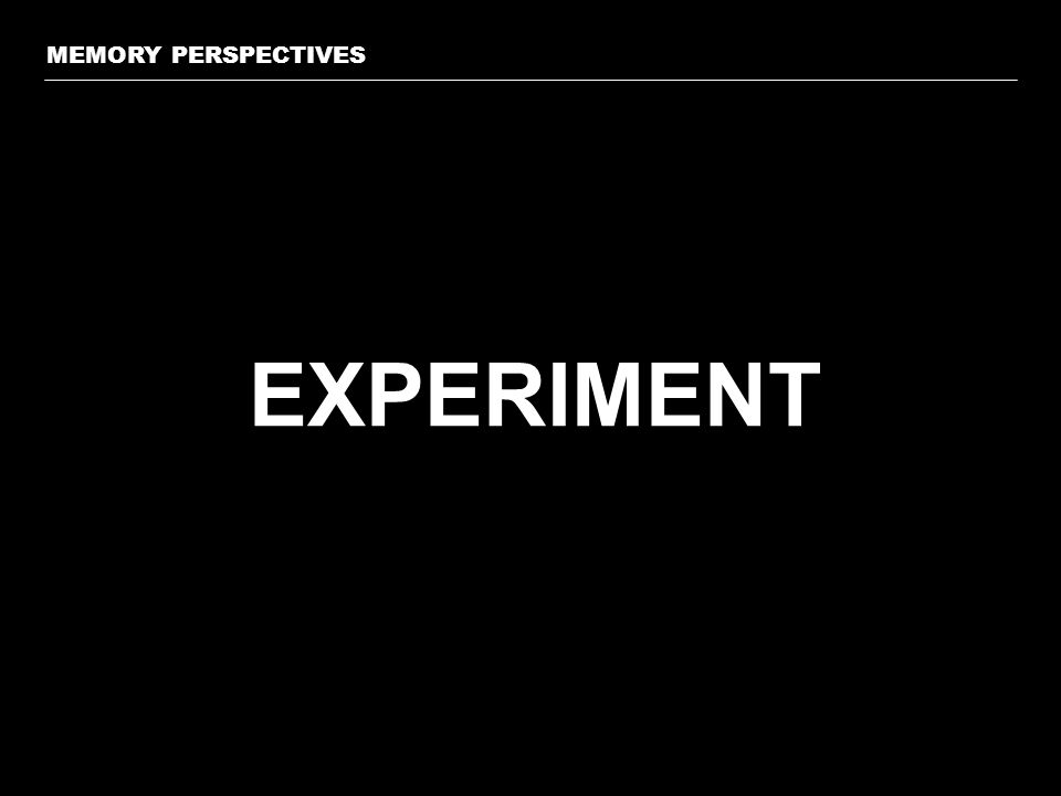 EXPERIMENT MEMORY PERSPECTIVES