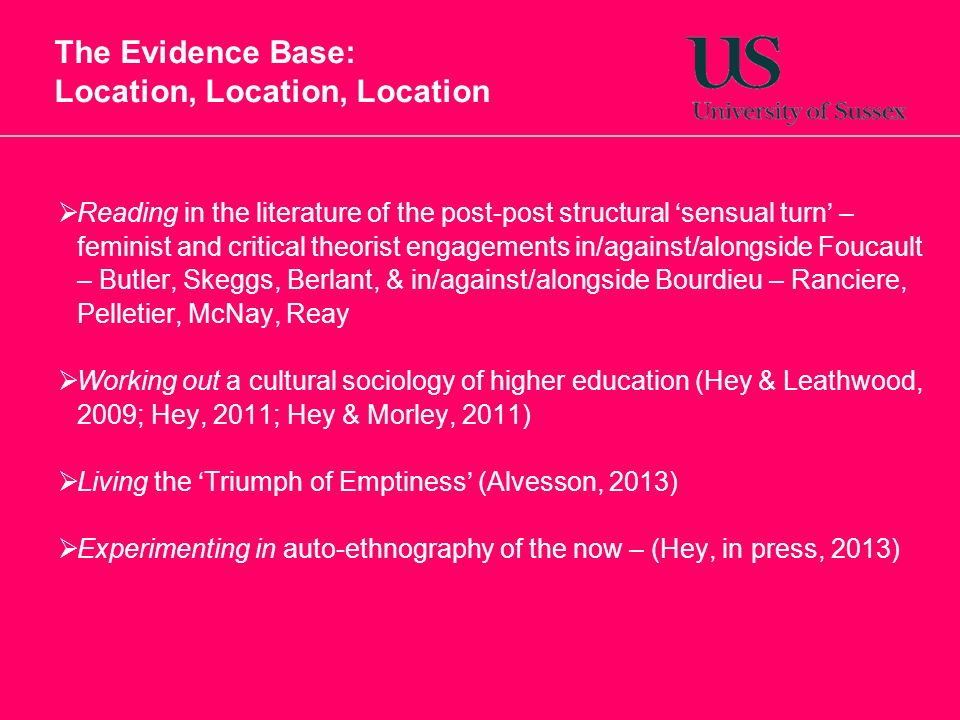 The Evidence Base: Location, Location, Location Reading in the literature of the post-post structural sensual turn – feminist and critical theorist engagements in/against/alongside Foucault – Butler, Skeggs, Berlant, & in/against/alongside Bourdieu – Ranciere, Pelletier, McNay, Reay Working out a cultural sociology of higher education (Hey & Leathwood, 2009; Hey, 2011; Hey & Morley, 2011) Living the Triumph of Emptiness (Alvesson, 2013) Experimenting in auto-ethnography of the now – (Hey, in press, 2013)