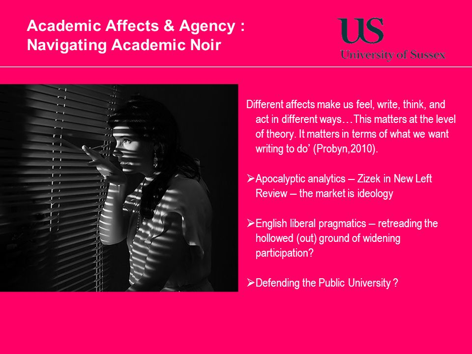 Academic Affects & Agency : Navigating Academic Noir Different affects make us feel, write, think, and act in different ways … This matters at the level of theory.