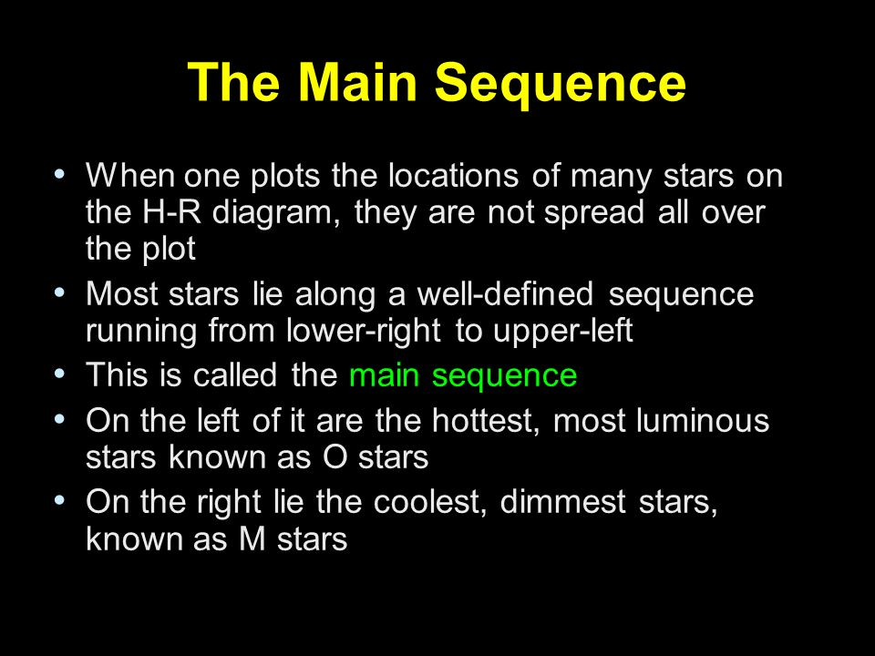The Main Sequence When one plots the locations of many stars on the H-R diagram, they are not spread all over the plot Most stars lie along a well-def