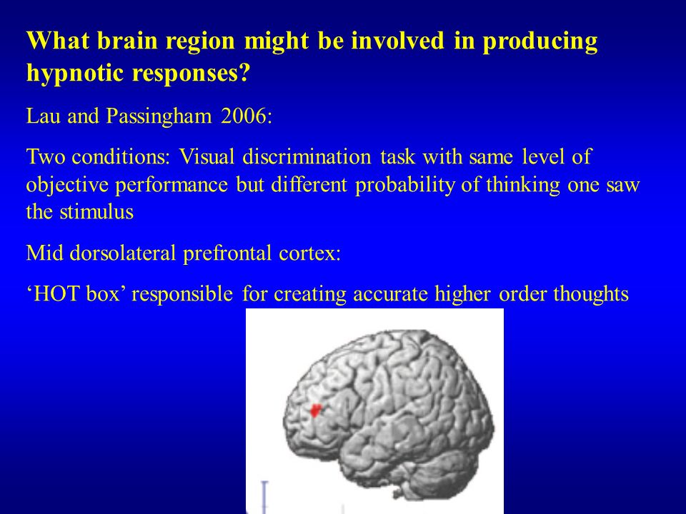 What brain region might be involved in producing hypnotic responses? Lau and Passingham 2006: Two conditions: Visual discrimination task with same lev
