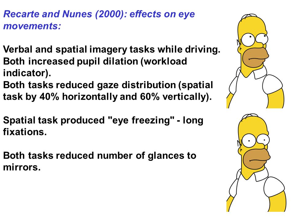 Recarte and Nunes (2000): effects on eye movements: Verbal and spatial imagery tasks while driving.