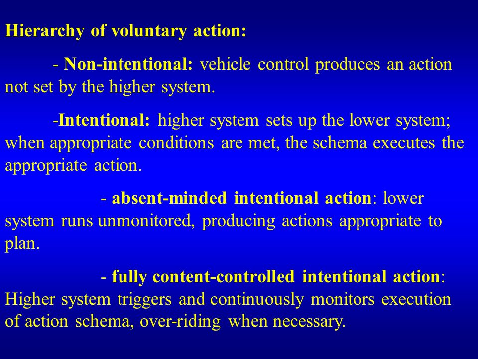 Hierarchy of voluntary action: - Non-intentional: vehicle control produces an action not set by the higher system. -Intentional: higher system sets up