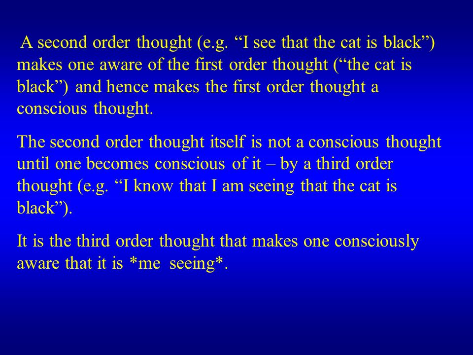 A second order thought (e.g. I see that the cat is black) makes one aware of the first order thought (the cat is black) and hence makes the first orde