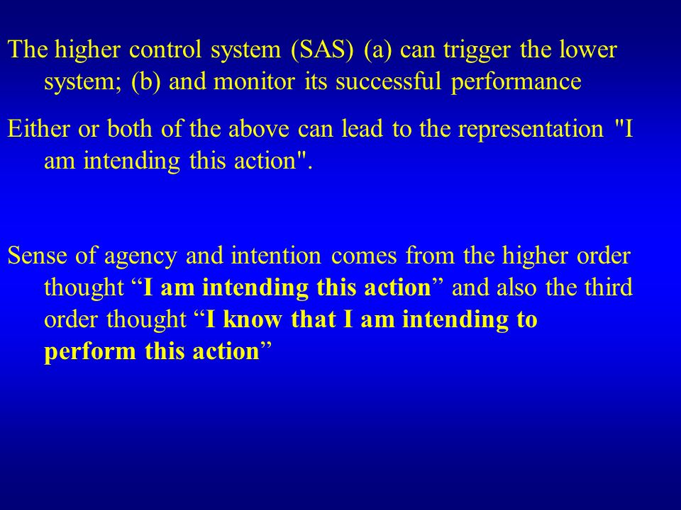 Hierarchy of voluntary action: - Non-intentional: the lower system produces an action not set by the higher system.