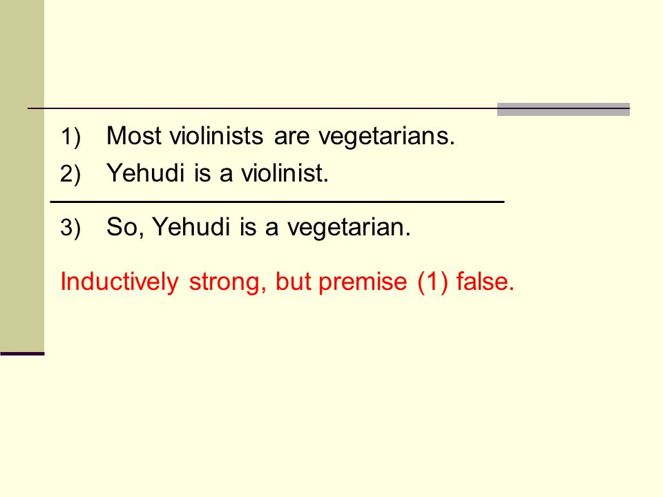 1) Most violinists are vegetarians. 2) Yehudi is a violinist. 3) So, Yehudi is a vegetarian. Inductively strong, but premise (1) false.