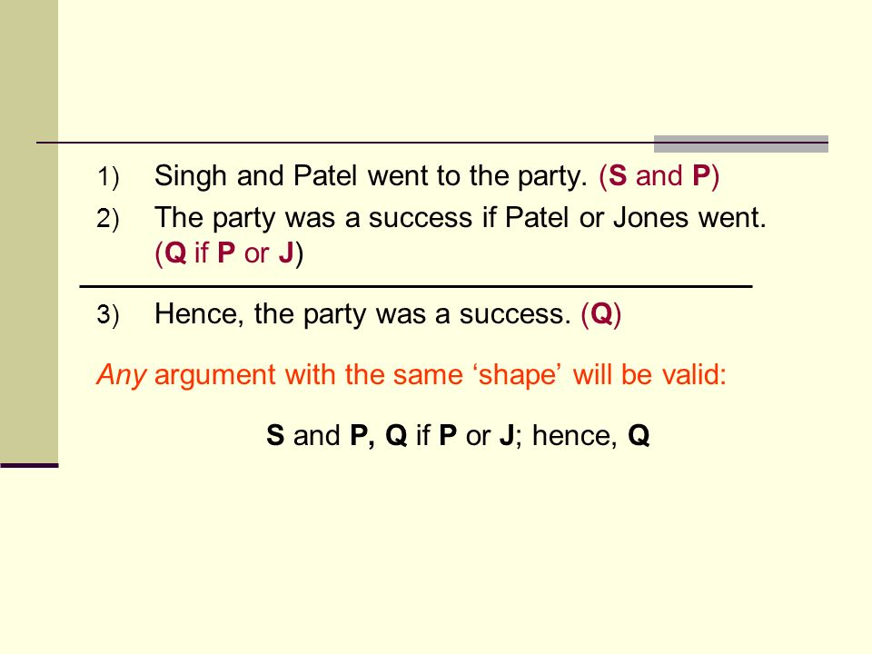 1) Singh and Patel went to the party. (S and P) 2) The party was a success if Patel or Jones went. (Q if P or J) 3) Hence, the party was a success. (Q
