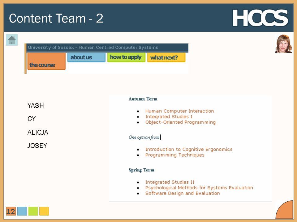 Content Team - 2 12 YASH CY ALICJA JOSEY