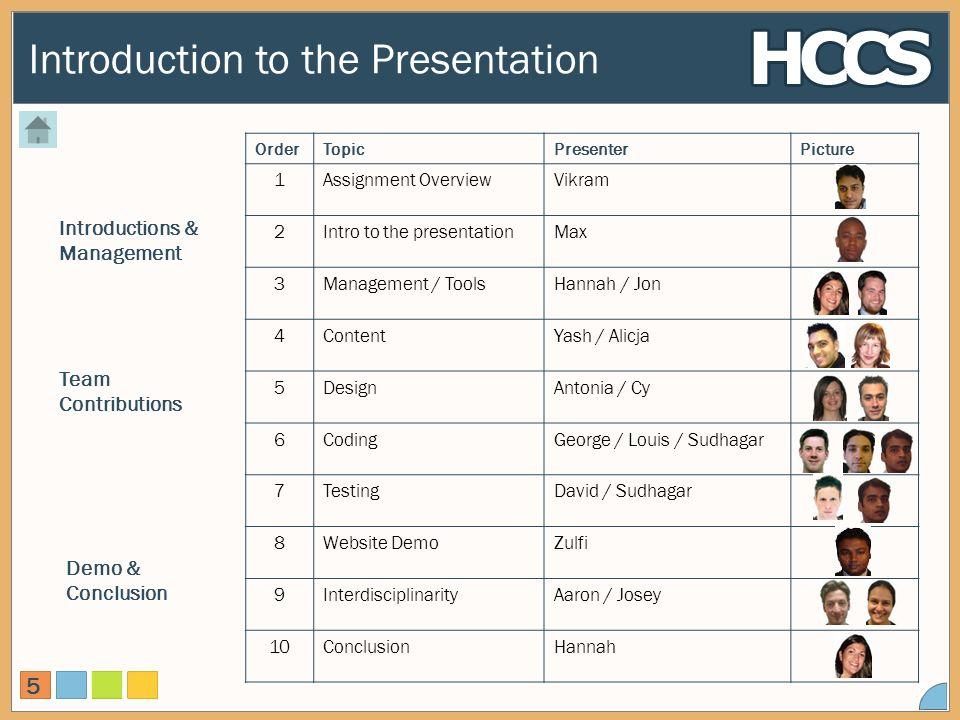 Introduction to the Presentation 5 OrderTopicPresenterPicture 1Assignment OverviewVikram 2Intro to the presentationMax 3Management / ToolsHannah / Jon 4ContentYash / Alicja 5DesignAntonia / Cy 6CodingGeorge / Louis / Sudhagar 7TestingDavid / Sudhagar 8Website DemoZulfi 9InterdisciplinarityAaron / Josey 10ConclusionHannah Introductions & Management Team Contributions Demo & Conclusion