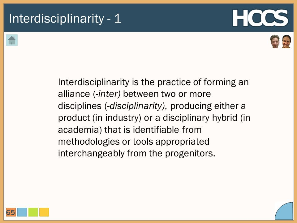 Interdisciplinarity - 1 65 Interdisciplinarity is the practice of forming an alliance (-inter) between two or more disciplines (-disciplinarity), producing either a product (in industry) or a disciplinary hybrid (in academia) that is identifiable from methodologies or tools appropriated interchangeably from the progenitors.