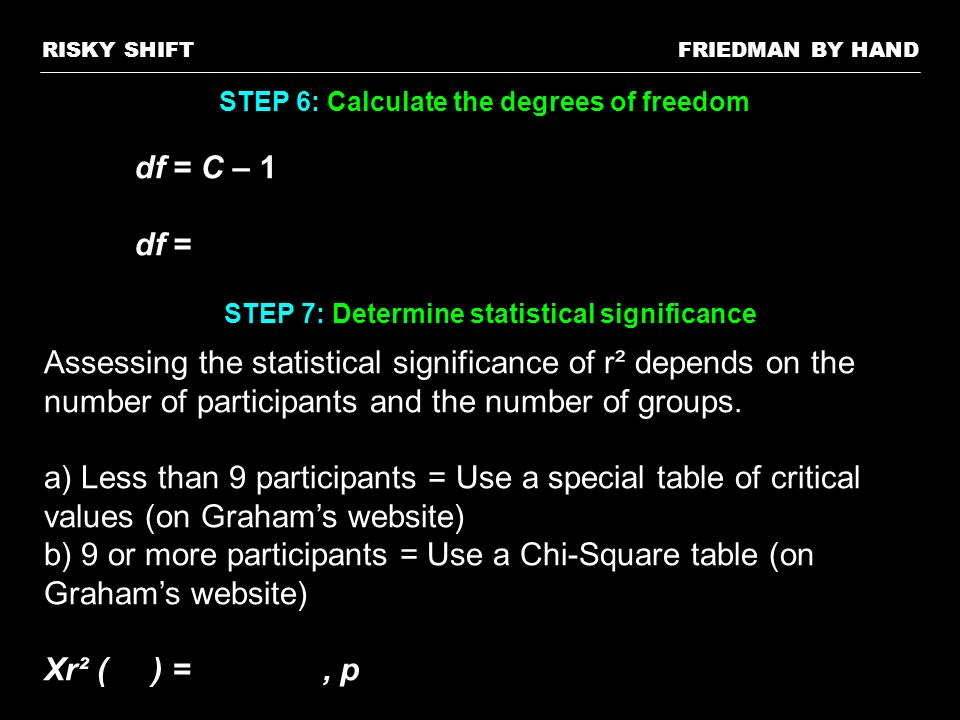 FRIEDMAN BY HANDRISKY SHIFT STEP 6: Calculate the degrees of freedom df = C – 1 df = STEP 7: Determine statistical significance Assessing the statisti