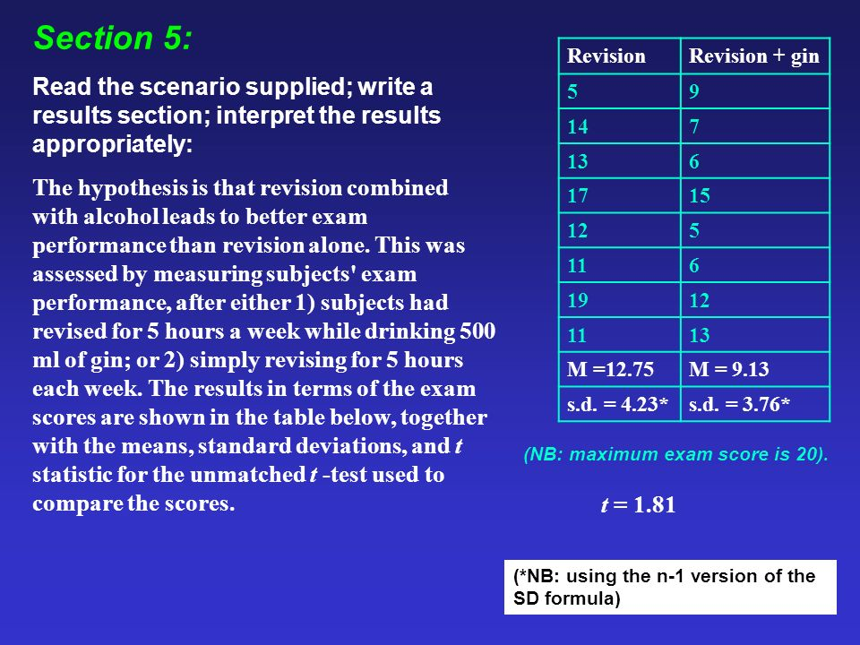 Section 5: Read the scenario supplied; write a results section; interpret the results appropriately: The hypothesis is that revision combined with alcohol leads to better exam performance than revision alone.