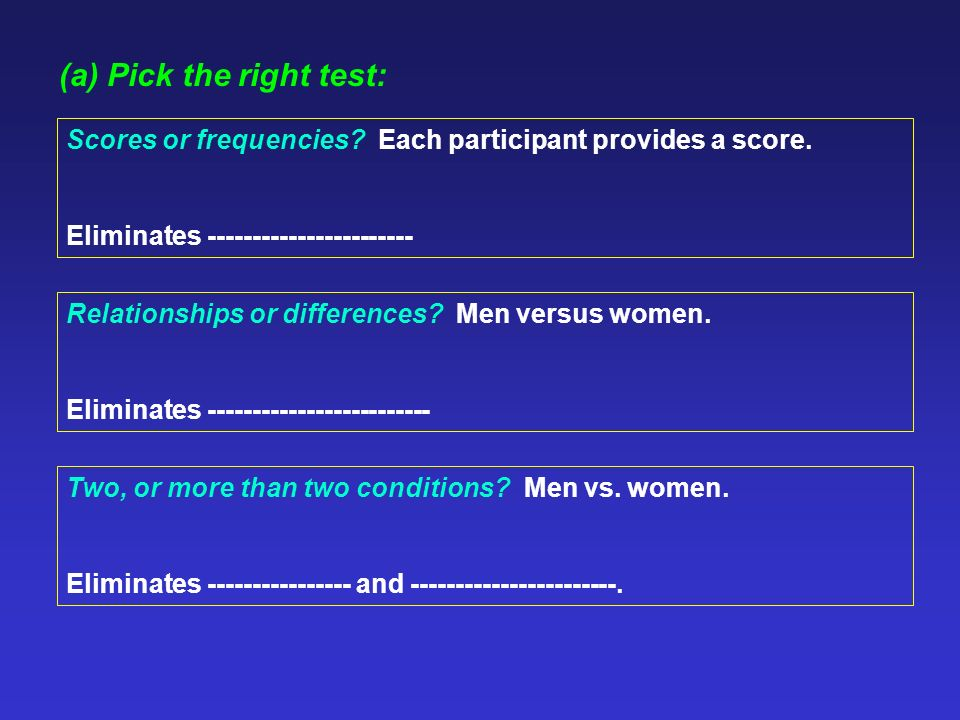 (a) Pick the right test: Two, or more than two conditions.