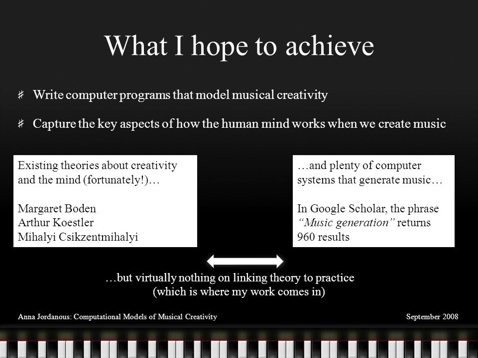 Justification for this work I hope to use these music generation models to explore the following questions: When do we demonstrate creativity in a musical context.