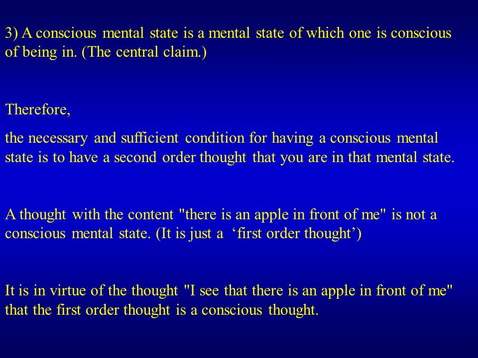 3) A conscious mental state is a mental state of which one is conscious of being in.