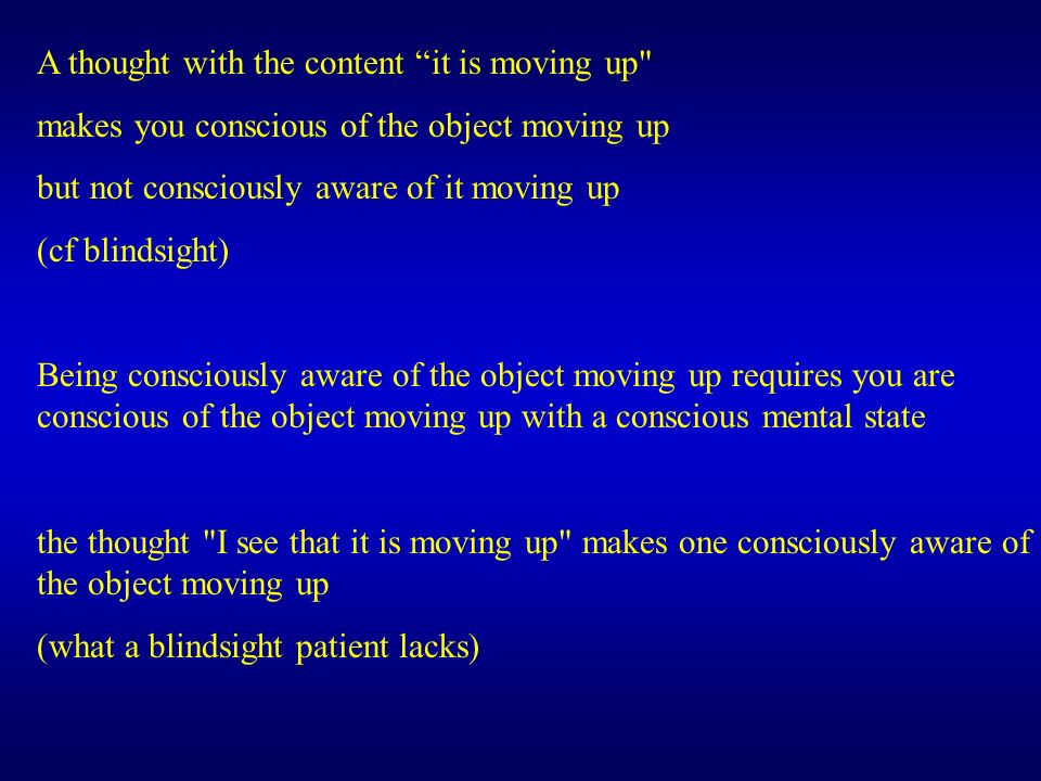 A thought with the content it is moving up makes you conscious of the object moving up but not consciously aware of it moving up (cf blindsight) Being consciously aware of the object moving up requires you are conscious of the object moving up with a conscious mental state the thought I see that it is moving up makes one consciously aware of the object moving up (what a blindsight patient lacks)