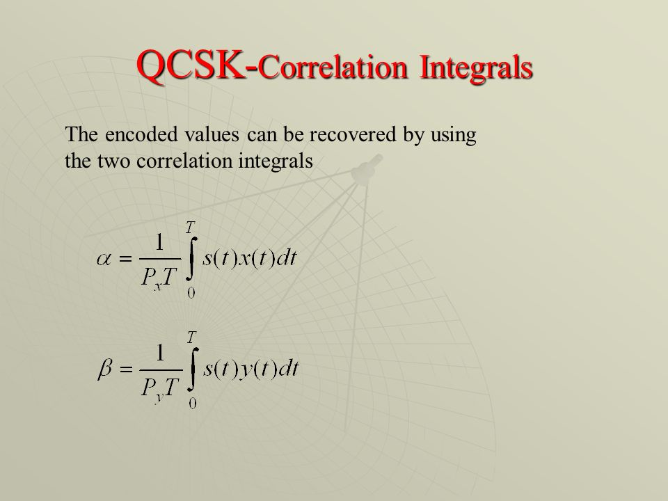 QCSK- Correlation Integrals The encoded values can be recovered by using the two correlation integrals