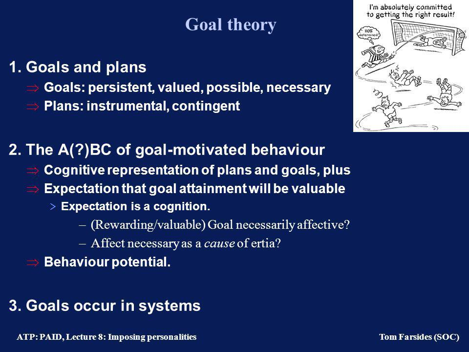 ATP: PAID, Lecture 8: Imposing personalities Tom Farsides (SOC) Goal theory 1.