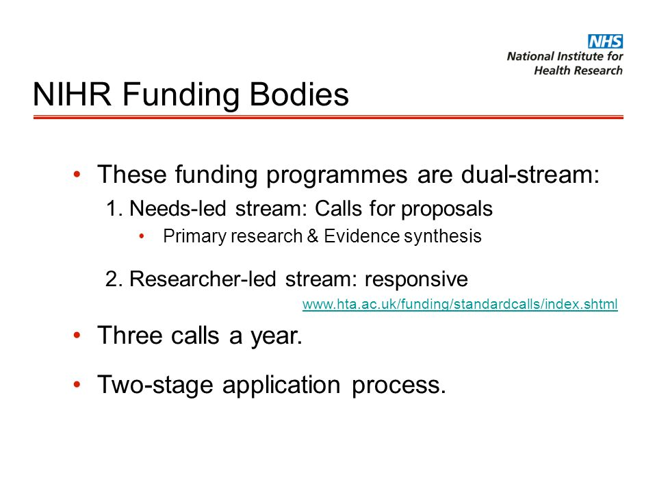 NIHR Funding Bodies These funding programmes are dual-stream: 1. Needs-led stream: Calls for proposals Primary research & Evidence synthesis 2. Resear