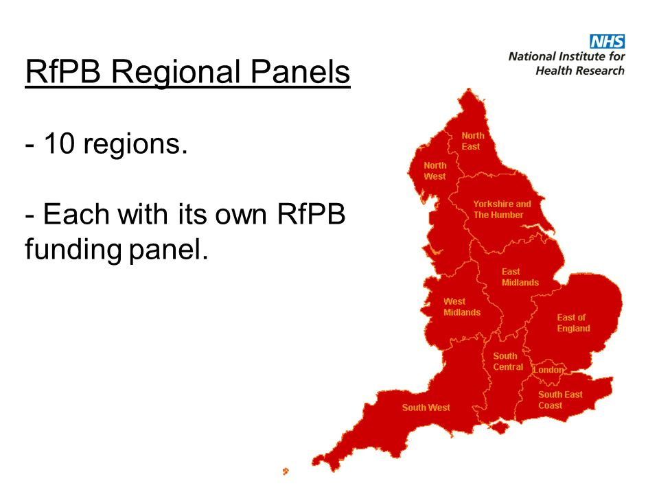 RfPB Regional Panels - 10 regions. - Each with its own RfPB funding panel.