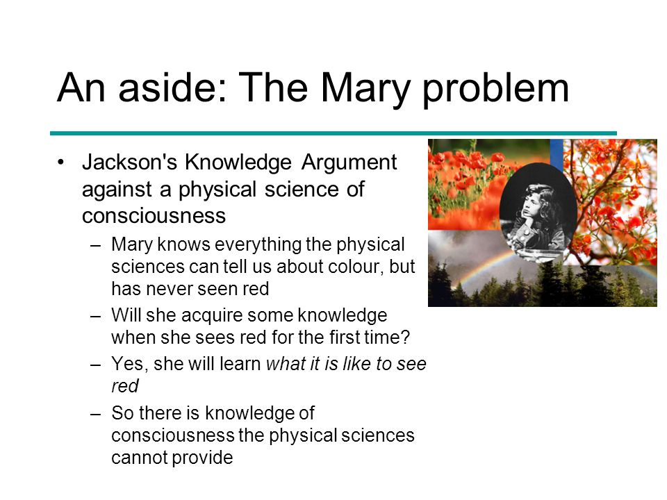 An aside: The Mary problem Jackson's Knowledge Argument against a physical science of consciousness –Mary knows everything the physical sciences can t