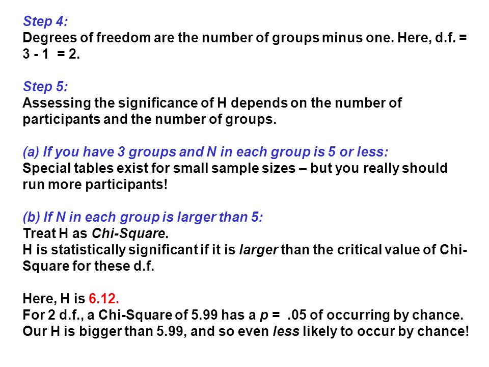 Step 4: Degrees of freedom are the number of groups minus one. Here, d.f. = 3 - 1 = 2. Step 5: Assessing the significance of H depends on the number o