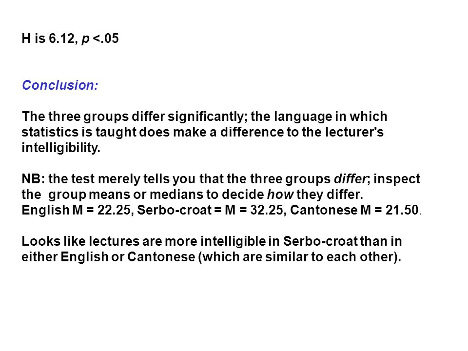 H is 6.12, p <.05 Conclusion: The three groups differ significantly; the language in which statistics is taught does make a difference to the lecturer