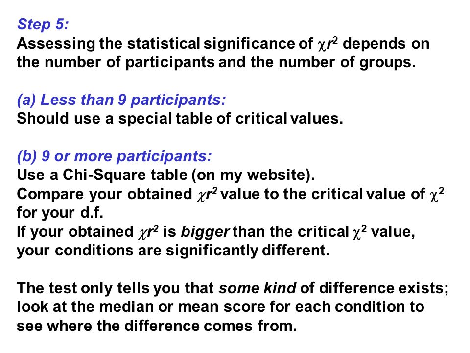 Step 5: Assessing the statistical significance of r 2 depends on the number of participants and the number of groups. (a) Less than 9 participants: Sh