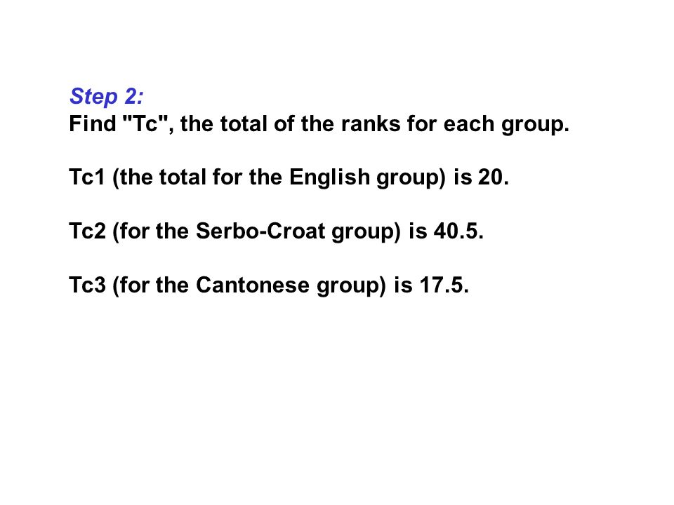 Step 2: Find Tc , the total of the ranks for each group.