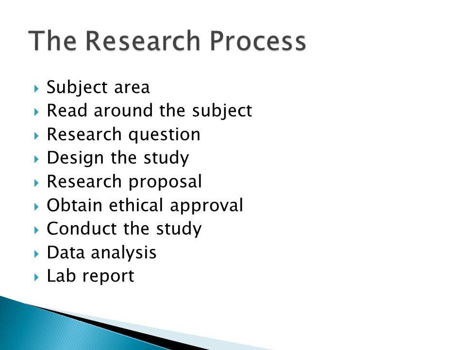 Subject area Read around the subject Research question Design the study Research proposal Obtain ethical approval Conduct the study Data analysis Lab