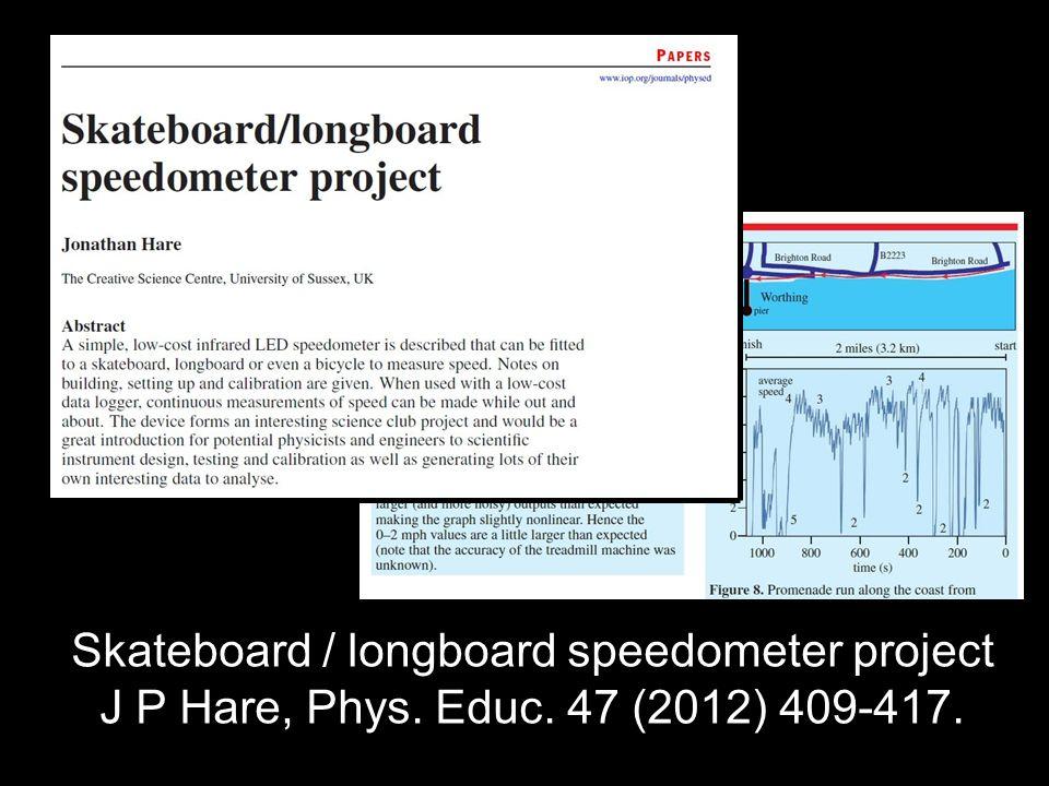Skateboard / longboard speedometer project J P Hare, Phys. Educ. 47 (2012) 409-417.