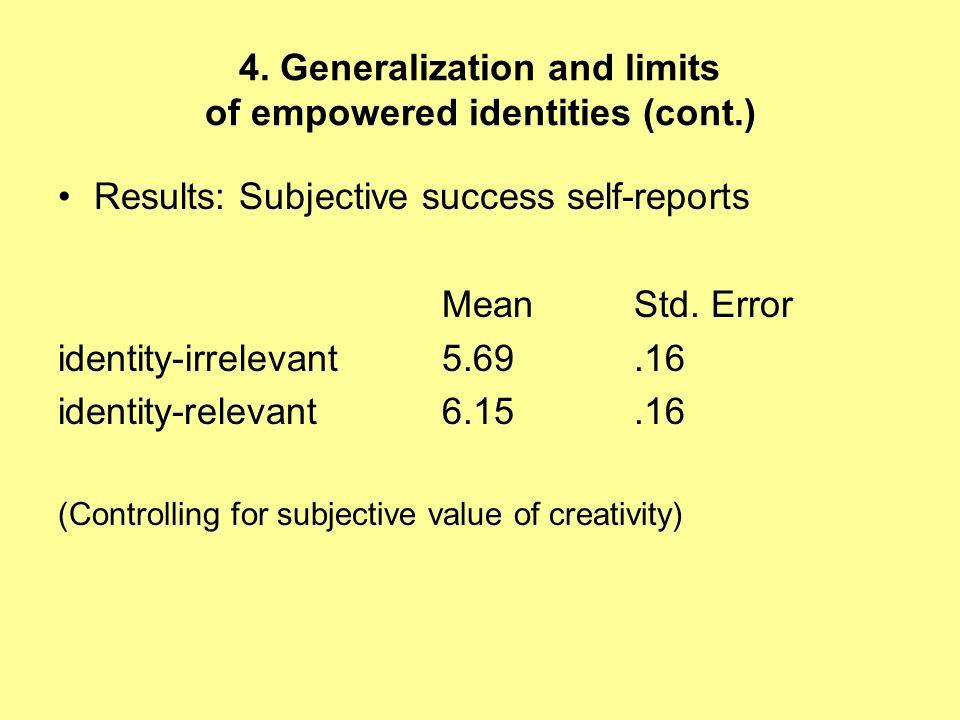 4. Generalization and limits of empowered identities (cont.) Results: Subjective success self-reports MeanStd. Error identity-irrelevant5.69.16 identi