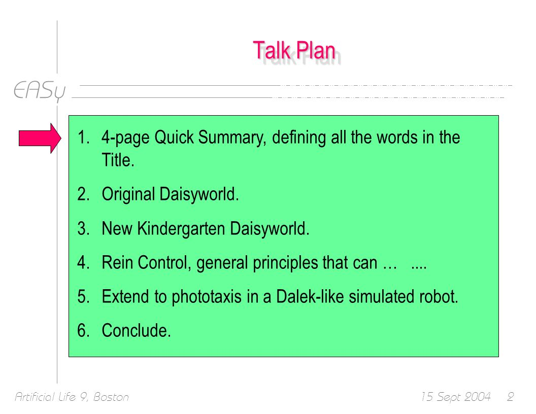 EASy 15 Sept 2004Artificial Life 9, Boston53 Talk Plan 1.4-page Quick Summary, defining all the words in the Title.