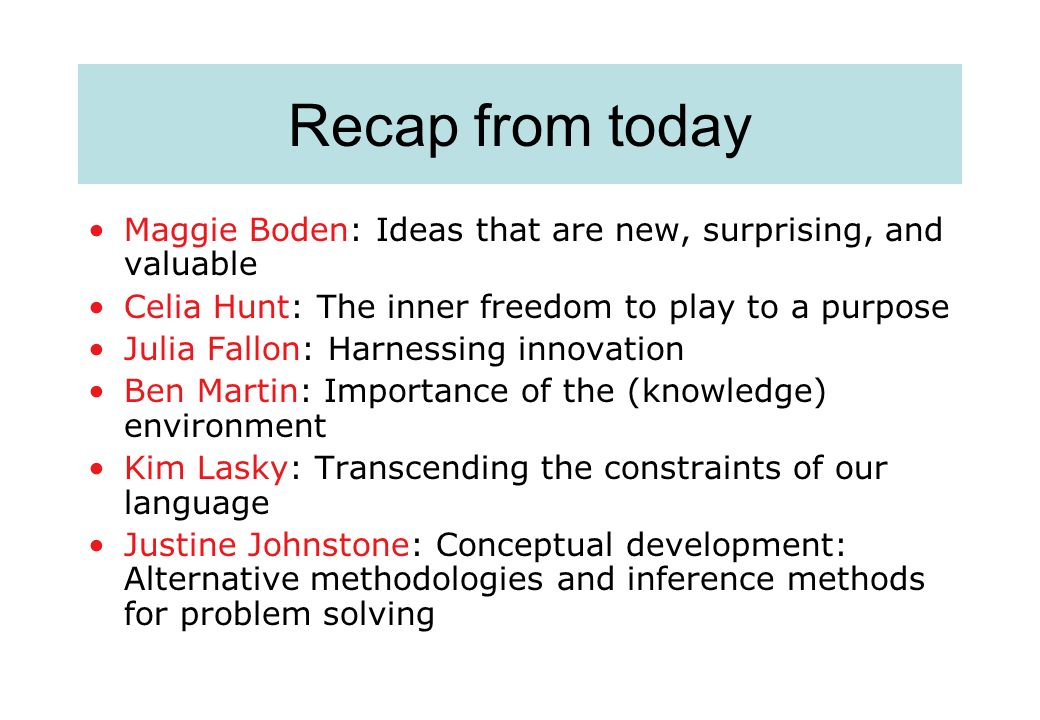 Recap from today Maggie Boden: Ideas that are new, surprising, and valuable Celia Hunt: The inner freedom to play to a purpose Julia Fallon: Harnessin