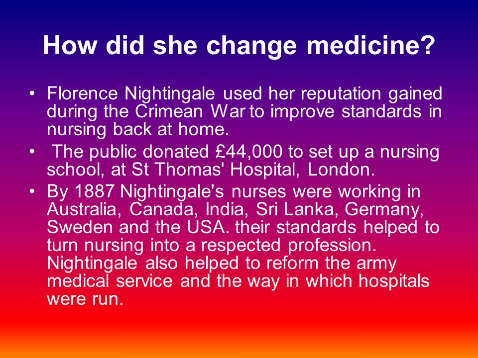 How did she change medicine.