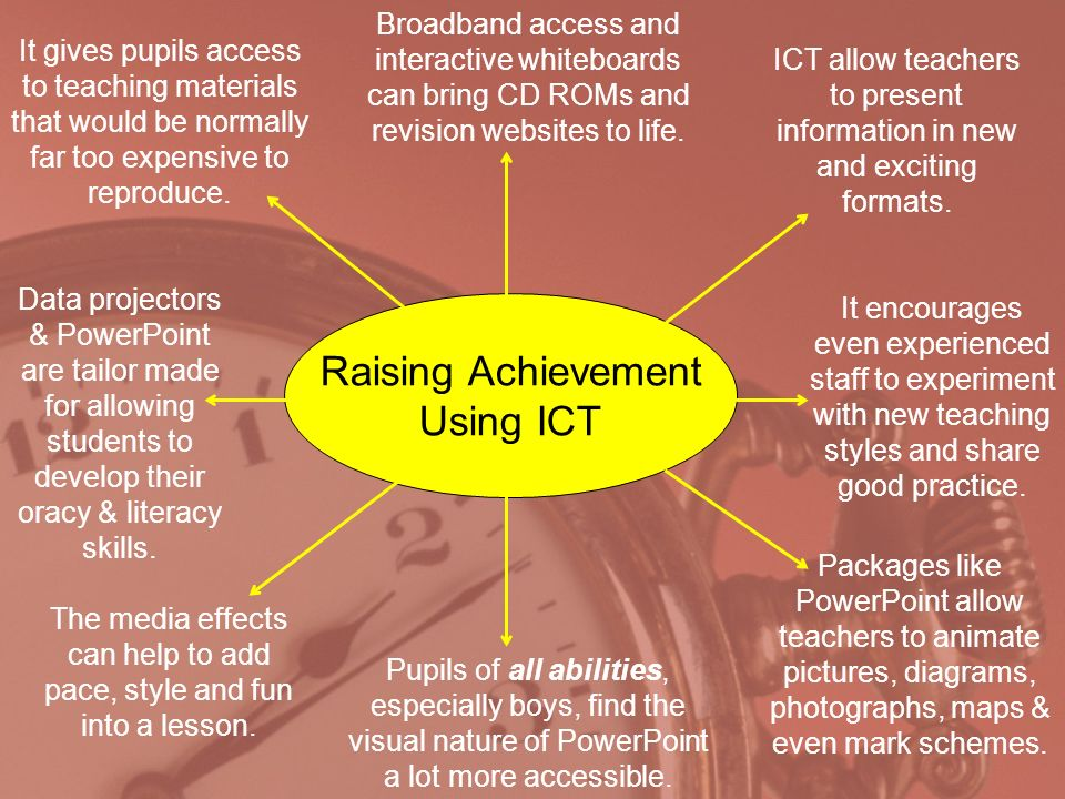 Raising Achievement Using ICT ICT allow teachers to present information in new and exciting formats.