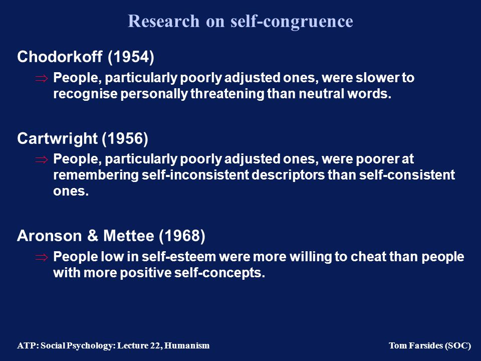 ATP: Social Psychology: Lecture 22, Humanism Tom Farsides (SOC) Process: Self-congruence People actively strive for congruence between their self- concept and their perceived experience.